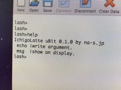 Porting to microbit!? 'IchigoLatte uBit' can show message on 5×5 LED display! / micro:bitに移植!?「IchigoLatte uBit」まずはLEDディスプレイにメッセージを表示できる機能を追加!